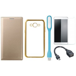 Leather Finish Flip Cover for Oppo Neo 5  with Free Silicon Back Cover, free Tempered Glass, free USB LED Light and Free OTG Cable