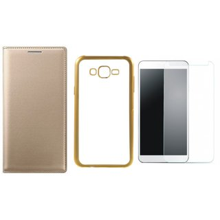 Samsung J5 2016 ( J5-6 )  Premium Leather Finish Flip Cover with Free Silicon Back Cover, Tempered Glass