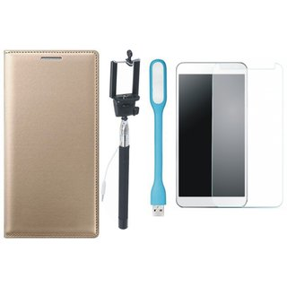 Oppo Neo 5  Premium Leather Finish Flip Cover with Free Selfie Stick, Tempered Glass, and LED Light