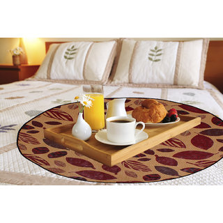 Glassiano Leaves Printed waterproof and oilproof Round bed serving mat