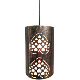 A&H  Copper Shading Paan Design Iron Pendant Ceiling Hanging Lamp ( Pack of 1 )