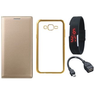 Moto G4 4th Gen Leather Finish Cover with Free Silicon Back Cover, Digital Watch and OTG Cable