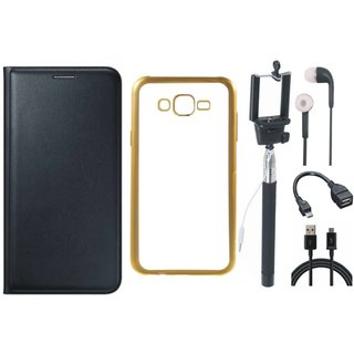 Lenovo K5 Leather Finish Cover with Free Silicon Back Cover, Selfie Stick, Earphones, OTG Cable and USB Cable