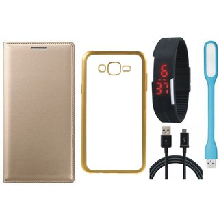 Leather Finish Flip Cover for Oppo Neo 5  with Free Silicon Back Cover, free Digital Watch, free USB LED Light and Free USB Cable