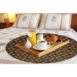 Glassiano Floral Printed waterproof and oilproof Round bed serving mat