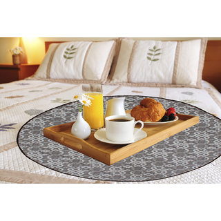 Glassiano Grey Printed waterproof and oilproof Round bed serving mat
