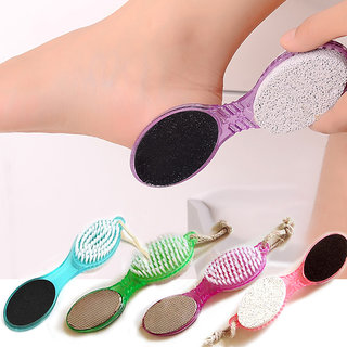 Evershine NEW-4 in 1 Multi-use Foot Care Brush Pumice Scrubber Pedicure Tool Set Pack Of 1 ( Multi color )