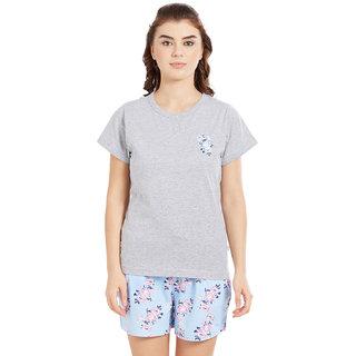 Velvet by night Grey Solid 100 Cotton Sinker Round Neck Top Shorts For Women 55e7ba73e