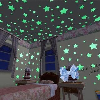 Night Glowing Radium PVC Magic Stars for Room Ceiling - 1 set