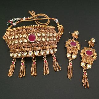 JewelMaze AD Stone Choker Copper Necklace Set-FBB0047B