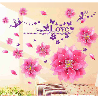 Walltola PVC Multicolor Floral PVC Dreamy Pink Flowers Blowing Wall Sticker (No of Pieces 1)