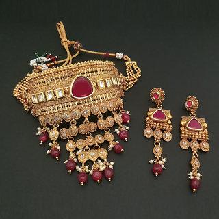 JewelMaze AD Stone Choker Copper Necklace Set-FBB0046