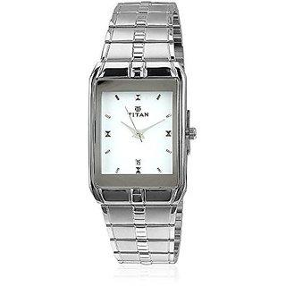 Titan Analog White Rectangle Watch -9151SM01