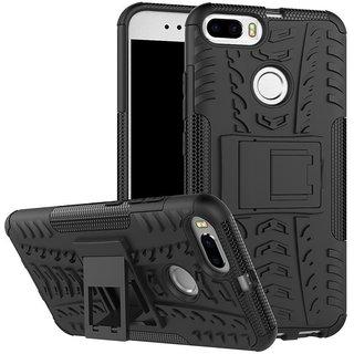iPaky Carbon Fiber Shockproof Hybrid Back Case for VIVO Y21 - Black + Gratis iRing.