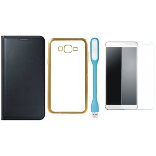 Oppo Neo 7  Flip Cover with Free J7 Prime Silicon Back Cover, Tempered Glass and USB LED Light