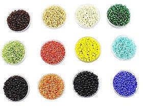 eshoppee Seed beads for jewelery making Set of 12 Colours 20Gm X 12