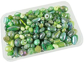 eshoppee 200 gm handmade fancy furnace glass bead beads for jwellery making art and craft diy kit (green 200 gm)