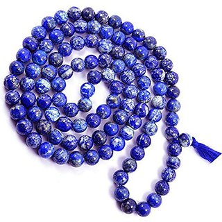 ESHOPEE 6MM LAPIS LAZULI HEALING CRYSTAL STONE MALA NECKLACE FOR GOOD POWER SPRIT AND VISION 108+ BEADS ROSARY MALA (lapis lazuli)