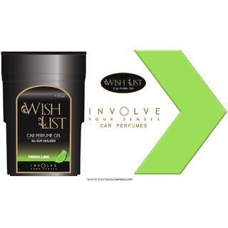 WISHLIST (Fresh Lime) Gel Car Perfumes For Cup Holder From Involve Your Senses