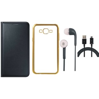 Moto G4 4th Gen Flip Cover with Free J7 Prime Silicon Back Cover, Earphones and USB Cable