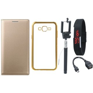 Moto E3 Power Premium Leather Finish Flip Cover with Free Silicon Back Cover, Selfie Stick, Digtal Watch and OTG Cable