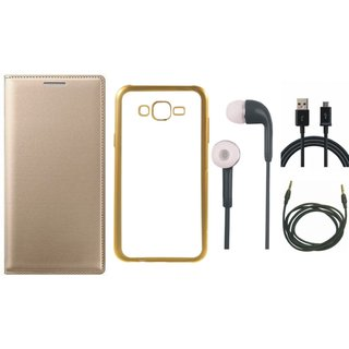 Vivo V5 Plus  Flip Cover with Free J7 Prime Silicon Back Cover, Earphones, USB Cable and AUX Cable