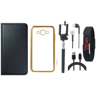 Leather Finish Flip Cover for Moto G Play  with Free Silicon Back Cover, free Selfie Stick, free Digtal Watch, free Earphones and Free USB Cable