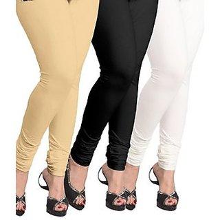 Pack Of 3 Black & Cream ,White Lycra Viscose Leggings