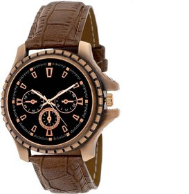 Kds Round Dial Brown Leather Strap Quartz Watch For Men