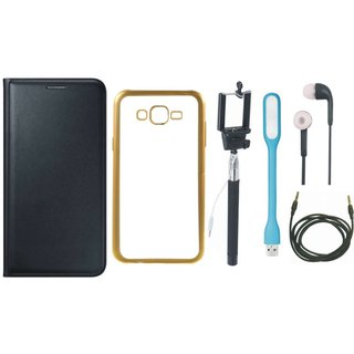 Oppo Neo 7  Premium Leather Finish Flip Cover with Free Silicon Back Cover, Selfie Stick, Earphones, USB LED Light and AUX Cable