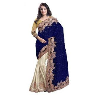 7dcde45a5207 Buy Blue - Beige Colour Silk Pallu - Net Saree Online - Get 50% Off