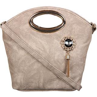Adine Beige Embellished Handbag