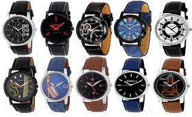 DCH Pack of 10 Analog Wrist Watches For Men  Boys