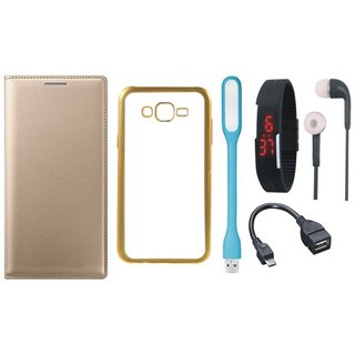 Leather Finish Flip Cover for Coolpad Note 3 Lite with Free Silicon Back Cover, free Digital Watch, free Earphones, free USB LED Light and Free OTG Cable