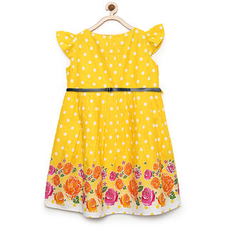 Meia for girls Yellow polka and border print cape sleeves dress along with Blue belt