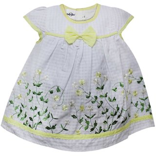 Tumble Cap Sleeves Flower Embroidered Frock - Yellow