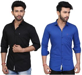 Trustedsnap Casual Solid Shirt For Men's Set of 2