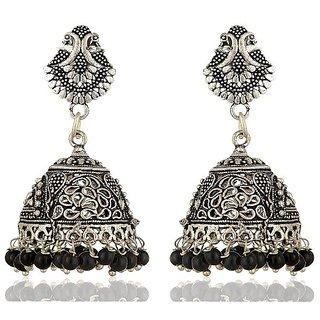 Fab Jewel Fashionable Oxidised Silver Jhumki Earrings for Women