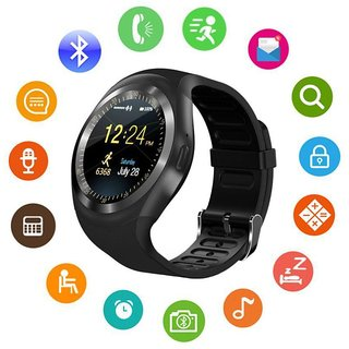 61b29e3d673718 Y1 smart watches Round Touch Screen Round Face Smartwatch Phone with SIM  Card Slot smart watch