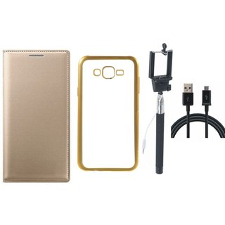 Vivo V5  Leather Finish Cover with Free Silicon Back Cover, Selfie Stick and USB Cable