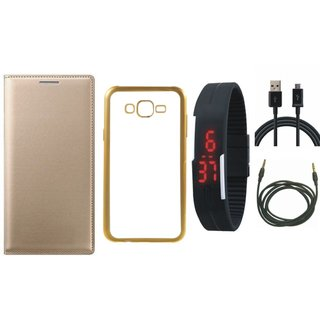Oppo Neo 5  Premium Leather Finish Flip Cover with Free Silicon Back Cover, Digital Watch, USB Cable and AUX Cable