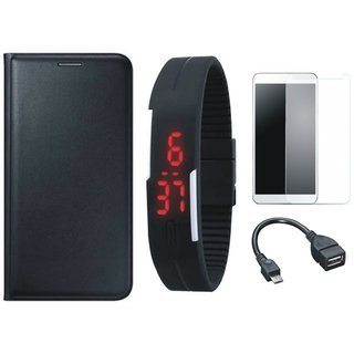 Lenovo A6600 Plus Leather Finish Cover with Free Digital LED Watch, Tempered Glass and OTG Cable
