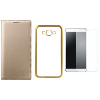 Oppo Neo 5  Premium Leather Finish Flip Cover with Free Silicon Back Cover, Tempered Glass