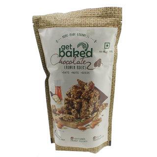 Get Baked Crunch Rocks Chocolate Oat Granola w/ Almonds, Walnuts, Pumpkin, Sunflower,  Chia Seeds - 100gms