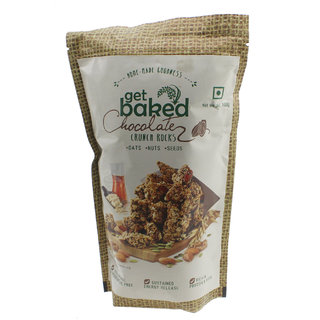 Get Baked Crunch Rocks Chocolate Oat Granola w/ Almonds, Walnuts, Pumpkin, Sunflower,  Chia Seeds - 100gms