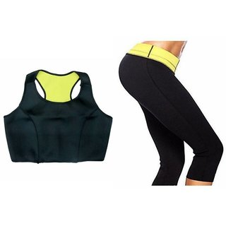 XTR Hot Shapers set Sports Slimming Bodysuit Shaper Pants+ Stretch Sports Bra for Women(M SIZE)