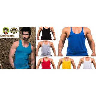 (PACK OF 5) Common Men's Color Premium Vests for GYM / Daily Wear / Sports - Multi-Color