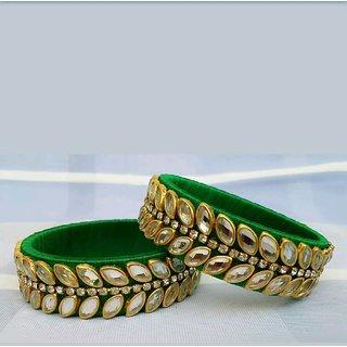 bdcc6ab8113d8 Beauty Plus Green Kundan Silk Thread Bangles