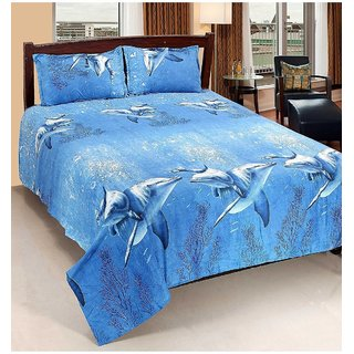 RK  Creation 140 TC Polycotton Double Bedsheet with 2 Pillow Covers - Dolphin Print, Blue