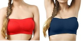 Multicolor Tube Bra 2Pc(Fits Upto 28-36) Non Padded
